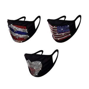 Hearts America Flag Stars Face Masks Fashion Reusable Rhinestone Mascarilla Washable Cloth Respirable Mascherine Black Cycling 8 79jy C2