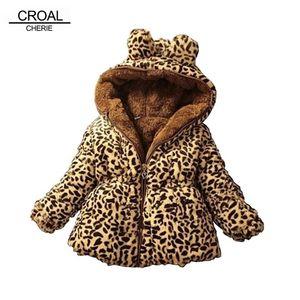 Croal Cherie Warme Dicke Mantel Für Teenager Leopard Fleece Samt Mädchen Winterjacke Kinder Kleidung C1119