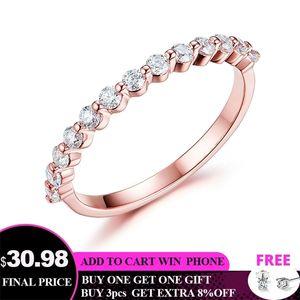 Kuololit 585 14K 10K Rose Gold for Women Moissanite Solitaire Ring Matching Half Eternity Wedding Band Engagement Bridal Q1121