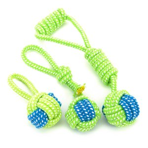 Pet Supply Dog Toys Dogs Chew Teeth Clean Outdoor Traning Fun Playing Green Rope Ball Toy For Large Small Dog Cat