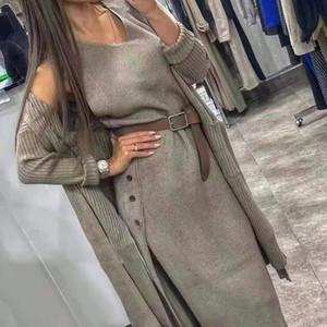 Taotrees mulheres de tricô terno dois pedaço conjunto de malha casaco de camisola solta com cinto