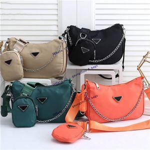 Mulheres luxurys designers nylon hobo lona crossbody saco bolsa de ombro para as mulheres sacos clássicos zíper moda de moda cadeia chaveiro carteira