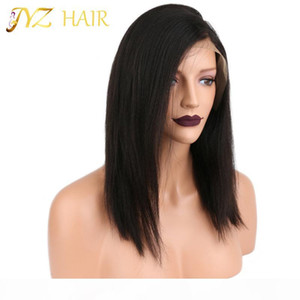 JYZ Full Lace Wig Black Women Glueless Lace Front Wigs With Baby Hair 130% Density Straight Human Wig Medium Brown Swiss Lace Wig