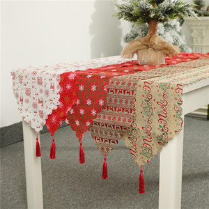 Christmas Decoration Linen Printed Table Flag Tablecloth Nappe