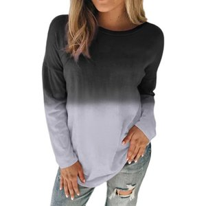Fashion Gradient Plus Size Tshirt Fashion Crew Neck Womens Top Casual Designer Womens Plus Size Clothing