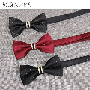 KASURE Elegant Silky Bow Tie For Men With Metal Crystal Glossy Butterfly Party Wedding Dress Tuxudo Accessory Formal Bowties