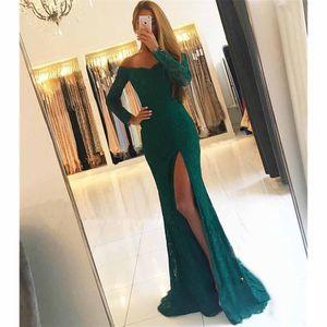 Spring 2020 Amazon popular off shoulder lace long sleeve slit fishtail dress