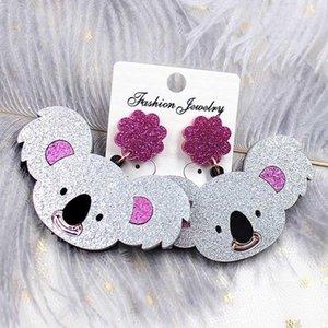 Cuello Chandelier Qigo Glitter Acrílico Mujeres Pendientes Pendientes Pronalidad Moda Joyería animal Koala para niñas1