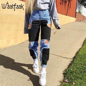Waatfaak preto azul carga calças mulheres casual zíper up casual calças fitnes cintura alta retalhos bolso corredores cortado 2020 lj200820