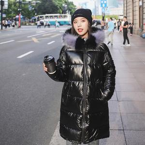 New Fashion Waterproof Glossy Down Parkas Womens Winter Jackets Warm Big Fur Collar Windproof Ladies Medium Long Hooded Coats 201124