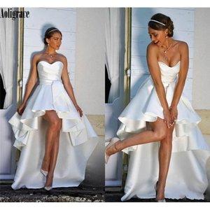 Wedding Dresses 2021 Bride Satin Sleeveless Ruffles High Low Sweetheart Beach Gowns Boho Vestido De Novia Custom Q1110