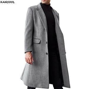 Kancool Herbst-Winter-Männer langer Trenchcoat Mode Boutique Wollmantel Marke Männer dünne Wollwindjacke Plus Size