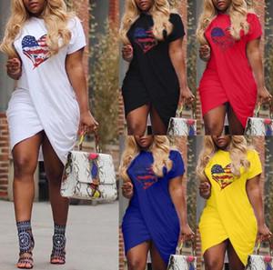 Women Summer Dress Cross Heart Print Love Short Sleeved Casual Dresses Ladies Designer Dresses Plus Size 5XL