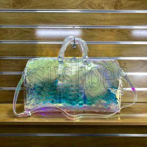 Keepall 50 Virgil حقيبة السفر M53271 حقيبة القماش الخشن شفافة أكياس الكتف البلاستيكية Abloh البلاستيك PVC Holdall Travel Duffel Bags
