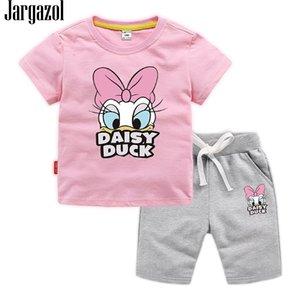Jargazol Baby Girl Одежда мультфильм утка Печатные Летние с коротким рукавом футболки детские малыши мальчик Vlothign Set Детские наряды 201126