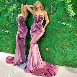 Pink Mermaid Velvet Prom Dresses Beading Spaghetti Straps Plus Size Evening Gowns Sweep Train Formal Dress