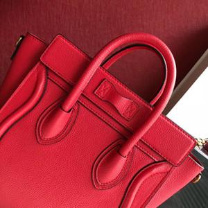 20 cm nano boyutu lüks çanta büyük tote gülümseme çanta çanta omuz çantası gerçek deri hakiki deri seyahat çantası
