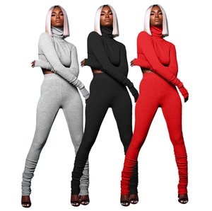 Women Designers Clothes 2020 autumn fashion high collar pleated long-sleeved t-SHIRT pant two piece suit casual womens tracksuit LY1121