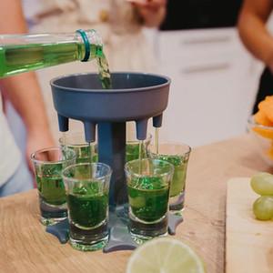 6 Toma de vidrio Dispensador Holder Bar Herramienta Carrito Caddy Liquor Party Juegos de beber Cocktail Vino Cerveza Relleno rápido