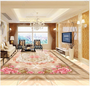 Customized Self adhesive waterproof floor painting wall stickers High definition marble mosaic rose flower 3D floor tile painting wall paper