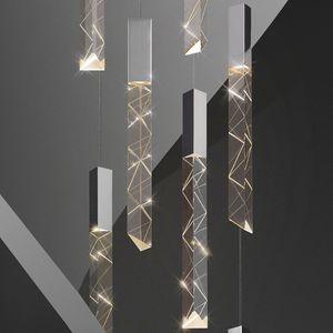 2020 New Modern Loft LED Lampadario K9 Crystal Chrome Duplex Stair Chandelier Living Room Soffitto soffitto a sospensione Lampada a sospensione di lusso