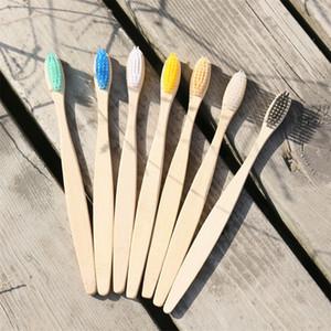 Novas escovas de dentes de viagem escovas de dentes de madeira escova de nylon macio escova de dentes bambu alça arco-íris bambu escovas de dentes 92 j2