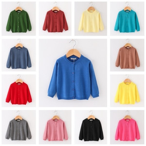 INS Kids Designer Sweater Baby Boys Girls Spring Autumn Knitted Cardigan Children Jackets Pure Color Soft Fashion Clothes 23Colors GG20303