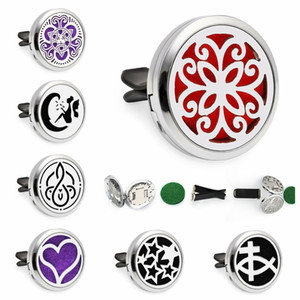 Mode Blume 30mm Magnetic Ätherisches Öl Aromatherapie Auto Diffusor Locket Duftstofflocket Removable Vent Clip 10pcs Pads Zufall