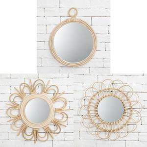 Hot Makeup Mirror Light Luxury Retro European Metal Gold Mirror Home Desktop Square Round Mirror Dormitory Makeup Mirrors