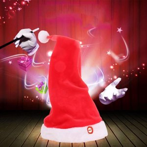 Electric Christmas Hat 2021 Plush Xmas Santa Hat Dancing with Music Hats Holiday Party Decoration Kids Adult Christmas Gift Cap
