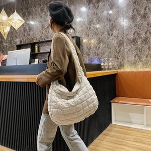 Hobo Bag Crossbody Diamond Bags Women Padded New Space Shoulder 2020 Sbdqd Bag Winter Warm Cotton Big For Female Feather Down Lattice Duauu
