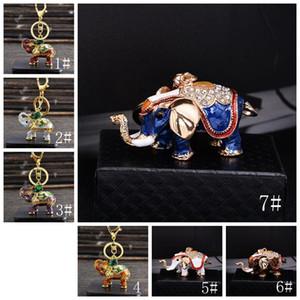 Éléphant strass Keychain Fashion Creative Elephant Shape Carte de voiture Personnaliser Porte-clés en métal Anneau d'éléphant Pendentif Petit cadeau AHD3660