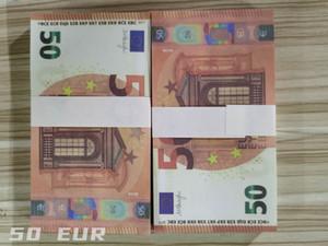 Euro Fake Money Banknotes Popier argent Document 50 EUR Bills Prix Banque Banque Cadeaux d'affaires pour hommes Faux papier Money 100 / Pack 01