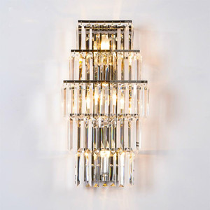 Indoor Crystal Wall Lamp Long crystal Bar Wall Light Led terrace light Living Room sconce Hotel Lobby Led fixtures