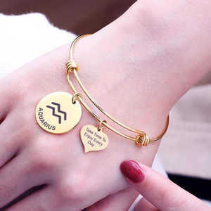12 Constellation Zodiac Bangle Cuff Take Time Enjoy Every Day Letter Carved Heart Coin Charm Stainless Steel Adjustable Bracelet