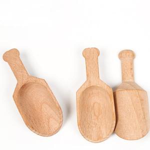 200pcs / lot Mini Scoops en bois Sel de bain poudre cuillère bain douche SPA outil Sels de bain bonbons détergent à lessive en poudre cuillère DWD3030