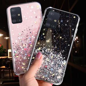 Caso de telefone para Samsung Galaxy S20 Ultra S10 S9 S8 PLUS Note 10 Pro A51 A71 A81 A91 A10 A10 A30 A50 A70 A70 BLING Glitter Estrela