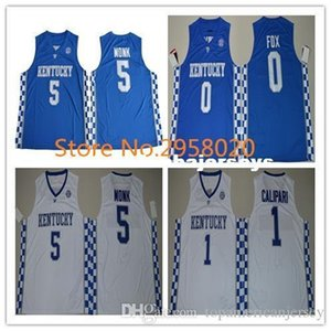 Cheap custom #5 Malik Monk #1 JOHN CALIPARI #0 De'Aaron Fox #3 BAM ADEBAYO Kentucky Wildcats College Basketball Jersey Any Name and Let