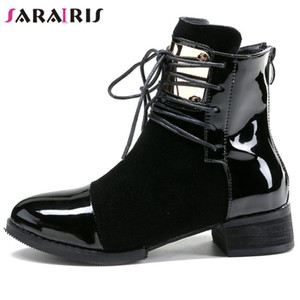 SaraIris Metal Med Heel Patchwork Mid Calf Boots Women Designer Boots Ladies Fashion Pointed Toe Lace Up Winter Shoes