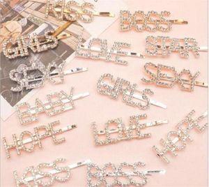 15 Styles Silver Gold Lettre Mot Strasstal Crystal Crystal Coiffure Coiffures Coiffures Clip Coiffures Grip Pin Barrette Ornement Cheveux Accessoires Fy4345