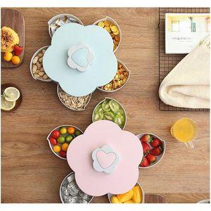 Kreative Blume Blütenblatt Obst Platte Süßigkeiten Aufbewahrungsbox 5 Gitter Nuts Snack-Tablett Rotierende Blumen Lebensmittel Geschenkbox QYLYXL PPShop01