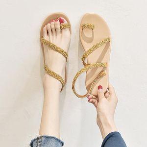 Sommer Frauen Schuhe Flache Heels Gladiator Sandalen Mode Komfortable Süße Böhmische Gold Weibliche Strand Sandalen plus Größe 35-441