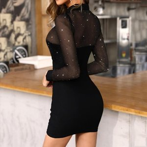Fashion Sequin dress Women Black sexy bodycon dress Long Sleeve Glitter Semi Sheer Mesh Patchwork Slim Work Dress robe femme 4s