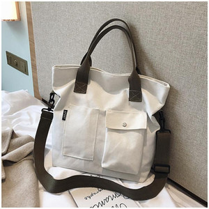2021 Simple Canvas Diagonal The Tote Fashion Handbag Korean Version New One-shoulder Female Of Bag Women Uqsuk