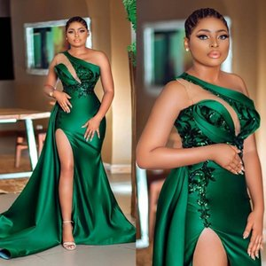 Dark Green Plus Size Prom Dresses 2021 One Shoulder Sequins Applique Illusion Evening Party Gowns Formal Occasion Wear Custom Made