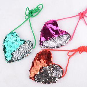 Sequins Heart Designer Handbags 6 Colors Kids Loving Shoulder Coin Bag Baby Girls Mini Messenger Bag Cartoon Coin Purse Party Favor DWA2486