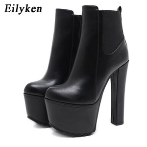 Eilyken Winter New High Heels Ankle Women Boots Black PU Leather Round Toe Zipper Female Boot Platform Women Shoes 201215