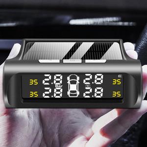 Smart Car TPMS Pneumatico per pneumatici Sistema di monitoraggio della pressione Solar Power Digital TMPS Display LCD USB Sensori di pressione di allarme di sicurezza automatica