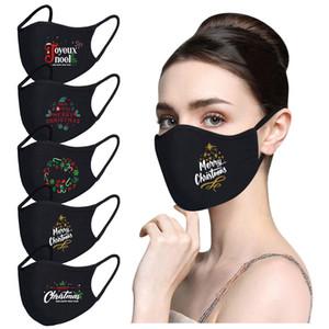 New Fashion 2020 Christmas Traspirable Cotton Mask Set di polvere di polvere di 5 maschera viso Pure Black Designer Masks
