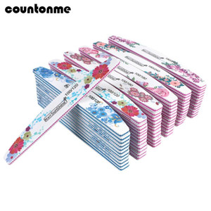50pcs New Nail File Buffer Double Side Lime Buffer Mix 100 120 180 240 Flower Printed Block Half Moon UV Gel Nail Polishing File